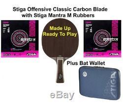 Tennis De Table Bat Stiga Offensive Classique Carbone Lame + 2 Feuilles Mantra M 2.1mm