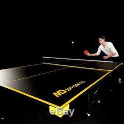 Tennis Ping Pong Sports De Table Pliable Noir Jaune Jeu Jouer Table Paddle Balls